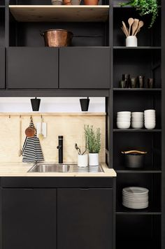 Black kitchen, wooden countertops | The Design Chaser: Joanna Laajisto - Revisited