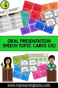 This Grade Four, Grade Five, Grade Six, Grade Seven and Grade Eight resource includes 108 Speech topics suitable for both formal/prepared speeches, and impromptu speech presentations! Also included are assessment rubrics for the teacher and students (in kids speak). These oral presentation cards come in three genre: Persuasive, Informative and Entertaining. Links to the CCSS! 4th Grade, 5th Grade, 6th Grade, 7th Grade and 8th Grade!