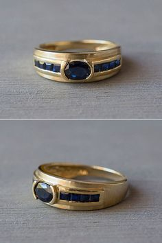 A vintage 1980s 14k yellow gold oval cut blue Sapphire ring, offered by MintAndMade.