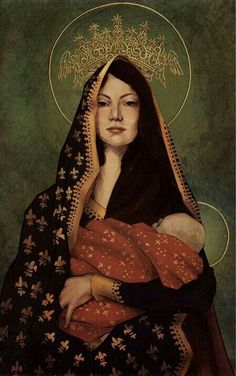 """Our Lady Icon by Celiwin celiwin. (Icon by Lauren """"Celiwin"""" - """"I do a Christmas card every year for my family and this year I decided to do my interpretation of Our Lady of Czestochowa, a Polish Icon. Blessed Mother Mary, Divine Mother, Blessed Virgin Mary, Virgin Mary Art, Virgin Mary Painting, Religious Icons, Religious Art, Our Lady Of Czestochowa, Mama Mary"""