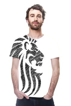 Tribal Lion Tattoo All Over Print Designer TShirt Also available in Normal print Tshirt http://www.designbyhumans.com/shop/t-shirt/lion-tribal-tattoo-cool-style/126476/