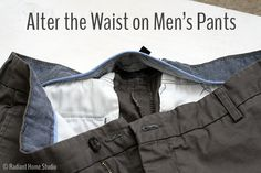 Need to take in the waist on your husband's pants? Step-by-step tutorial on how to alter the waist on mens pants. I took in the waist of some mens chinos. Sewing Men, Love Sewing, Sewing Clothes, Diy Clothes, Sewing Patterns Free, Sewing Tutorials, Sewing Tips, Sewing Ideas, Sewing Projects