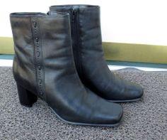 1efa8da73601 Woman s Karen Scott Black Leather Ankle Short Boots Size 6M Now  19.87  Short Boots