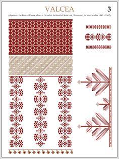 Modele de  ii Romanesti   din caietul elevei Furcoi Elena, de la Liceul  Industrial Sericicol Bucuresti,   care a desenat aceste plan... Folk Embroidery, Embroidery Patterns, Knitting Patterns, Cross Stitch Borders, Cross Stitch Patterns, Palestinian Embroidery, Zentangle Patterns, Embroidery Techniques, Beading Patterns