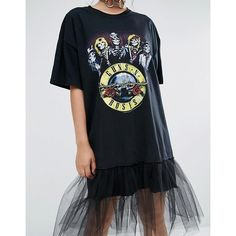 Reclaimed Vintage Oversize Guns N' Roses T-Shirt Dress With Tulle... (230 BRL) ❤ liked on Polyvore featuring dresses, rosette dress, oversized t shirt dress, rose dress, tulle dress and oversized dress