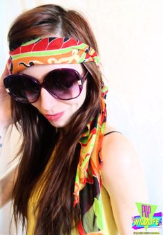 Vintage 70's Psychedelic Colorful Hippie Floral Print Head Scarf by POPWILDLIFE, $10.00