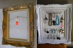 Transform a frame into a jewelry pegboard.  I have made 2 of these so far.