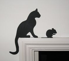 Cat and Grooming Mouse Door Topper