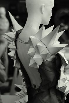 3D Geometric Dress - wearable art; paper sculpture dress; experimental fashion design: