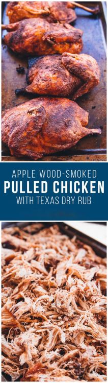 Barbecue Smoked Pulled Chicken Smoked Barbecue Pulled Chicken - Slow cooked on the grill and apple wood-smoked barbecue pulled chicken with a home-made seasoning. Makes a great pulled pork sandwich substitute! Traeger Recipes, Smoked Meat Recipes, Barbecue Recipes, Grilling Recipes, Healthy Grilling, Chicken Smoker Recipes, Pulled Pork Smoker Recipes, Smoker Grill Recipes, Barbecue Smoker