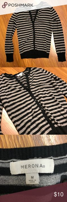 Black and gray striped sweater Medium size Merona sweater.  Very light but good for winter time! Has buttons   Very cute to wear to work or everyday! Sweaters