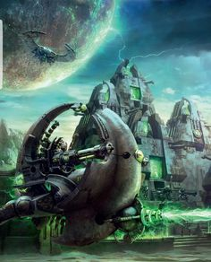 Warhammer 40k Necrons, Warhammer Fantasy, Warhammer Armies, Sci Fi Fantasy, Dark Fantasy, Star Wars Spaceships, Alien Concept Art, Star Wars Ships, Epic Art