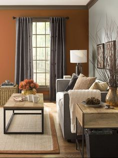 Warm colors and metals – adding harvest colors like amber and terra cotta, and. - Warm Home Decor Living Room Color Schemes, Paint Colors For Living Room, Living Room Grey, Living Room Decor, Dining Room, Warm Home Decor, Home Decor Colors, Burnt Orange Living Room, Brown Walls