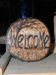 Welcome sign with tree on cedar pyrography hand by REDONEbykpstack, $29.00