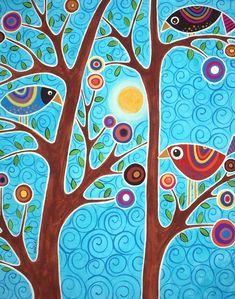 Naif Patterns In Folk Paintings By Karla Gerard – Very Beautiful And Colored These Canvas Painted With Acrylics By Karla Gerard American Artist From Waterville Folk Patterns And Motives Very Happy And Naif That You Can Admire In Karlas Gall Karla Gerard, Naive Art, Whimsical Art, Tree Art, Bird Art, Oeuvre D'art, Painting Inspiration, Art Lessons, Painting & Drawing