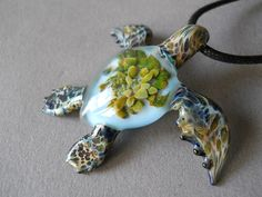 Blue Sea Turtle Pendant with Anemone  inside the sea by Glassnfire, $49.00