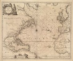 Vintage 1650 Nautical Chart of the Atlantic Ocean by AtomicPhoto, $60.00