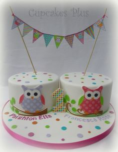 I made these owl themed birthday cakes for a set of girl twins together with matching bunting and cupcakes. :)