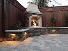 Eye-catching photo #outdoorfireplaceideas Outdoor Gas Fireplace, Outdoor Fireplace Designs, Backyard Fireplace, Fireplace Ideas, Fireplace Seating, Simple Fireplace, Fireplace Stone, Fireplace Modern, Gas Fireplaces