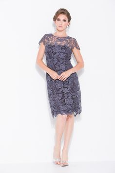 Vintage Lace Short Sleeve Mother of the Bride Wedding Evening Dress Plus Size - The Dress Outlet - 9
