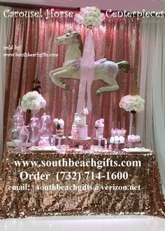 Pretty Pink carousel horse display for your Candy buffet table centerpiece decoration for your baby girls Baptism, Christening, Baby Shower, 1st Birthday, Sweet 16 Birthday, Bar Mitzvah or Carnival theme, Merry Go round or Circus  Party event! Comes in 12 colors to pick from and many other styles of Carousel horses in different styles and sizes to pick from southbeachgifts.com 732-714-1600