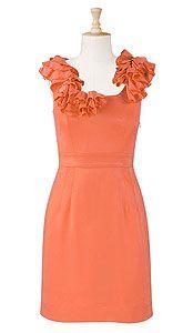 coral dress with collar flounces