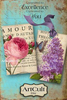 ANTIQUE FLOWER TAGS - Digital Collage Sheet Printable Download Images Jewelry Holders Vintage Scrapbook. $4.90, via Etsy.