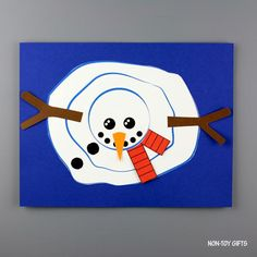 Snowman Party, Snowman Crafts, Melted Snowman, Non Toy Gifts, Build A Snowman, Colored Paper, Snowball, Snowmen, Card Stock