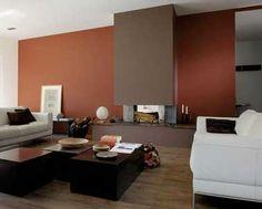 Peinture salon cosy rouge brique et couleur taupe