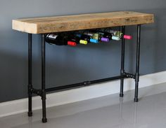 Wine Rack / Wine Bar - Reclaimed Wood w/ Industrial Pipe - Urban Style. FREE Shipping. Built by Hand. Guaranteed for Life