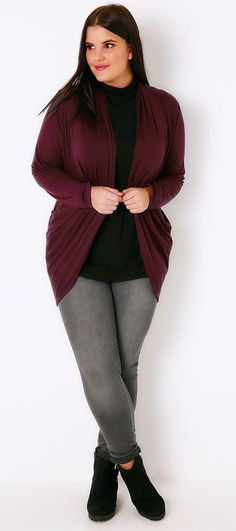 Plus Size Wine Jersey Cardigan