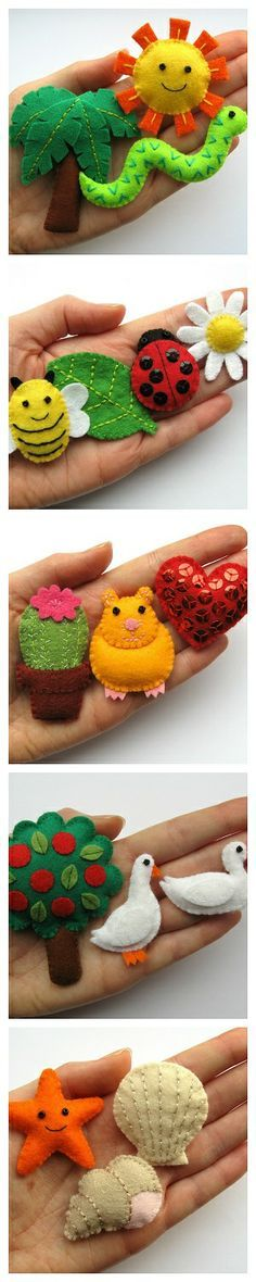 Lots of free tutorials for making mini felties, including a hamster, starfish and bumblebee! :) These projects can be mixed & matched with the felt animals in my book, Super-Cute Felt Animals. Felt Diy, Felt Crafts, Fabric Crafts, Sewing Crafts, Craft Projects, Sewing Projects, Felt Projects, Felt Quiet Books, Free Tutorials