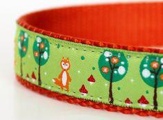 Fox in Pear Trees Dog Collar / Adjustable / European Ribbon by daydogdesigns on Etsy https://www.etsy.com/listing/125002798/fox-in-pear-trees-dog-collar-adjustable