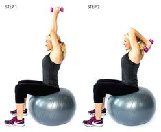 Blast Arm Jiggle with 5 Best Triceps Exercises Skinny Mom Where Moms Get the Skinny on Healthy Living Fitness Tips, Fitness Motivation, Health Fitness, Yoga Fitness, Sport, Triceps Workout, Arm Workouts, Stability Ball, Skinny Mom