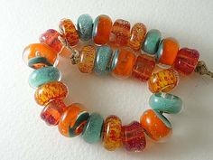 Lampwork Glass Beads  Two Sisters Designs Beach Scene 071014a