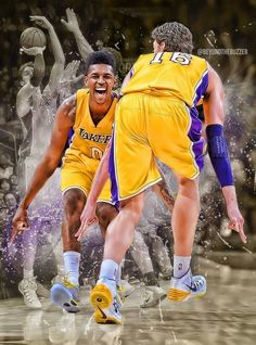 f654067a45ae Nick Young and Pau Gasol. It was funny when Pau copied Swaggy P s  celebration moves