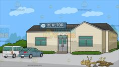 Kill Two Birds With One Stone With A Small Town Real Estate Office Background:  A dead beige and brown birds lying down on the floor after being hit by a gray stone and A building with beige walls and gray roof with two gray doors a blue realtor sign on the roof a white caravan and gray car parked in front and green plants outside the office  #animal #cartoon #clipart #illustration #vector #vectortoons