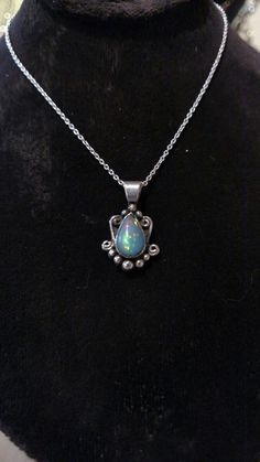 Hand-cut Ethiopian opal with fabricated setting. Sterling silver