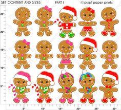 Gingerbread Wonderland - Christmas clipart - Clip Art and Digital paper set Christmas Clipart, Christmas Crafts, Christmas Decorations, Christmas Ornaments, Illustration Noel, Project Yourself, Gingerbread Man, Candyland, Art Images