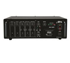 SSA-160DP: 160Watts PA #Amplifier with Digital Player  Power Output: 220W Max., 160W RMS at 10% THD  Input Channel: 5 x Mic 0.65mV/4.7kΩ, 2 x Aux 100mV/470kΩ, 1 x Line 1V/20kΩ Digital Player: Built-in MP3 Player with Remote Control (USB, SD and MMC Card Reader & FM Player) Tone Controls: Bass: ±10dB at 100Hz, Treble: ±10dB at 10kHz Outputs: Preamp 200mV/600Ω, Line 1V/1kΩ Speaker Outputs: 4Ω, 8Ω, 16Ω, 70V & 100V  www.atracoustics.com