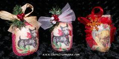 Christmas candy jars made with mason jars and vintage pet photos...free how to on my webiste.