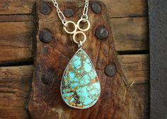 Turquoise pendant necklace. America Nevada by JaneFullerDesigns
