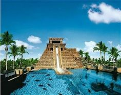 Leap of Faith slide at Atlantis in the Bahamas -- definitely one of the world's 10 most outrageous water slides.