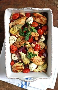 What are you making for dinner tonight? Try this simple Mediterranean baked chicken. It's packed with punchy flavor, delicious any night of the week!