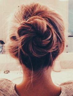 Messy braided bun hair idea~ Quick and Easy Messy Bun Hairstyle