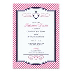 Nautical Wedding Rehearsal Navy and Pink Nautical Anchor Rehearsal Dinner Card