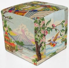 Cute pouf made from upcycled tapestries- Marie Claire Idées
