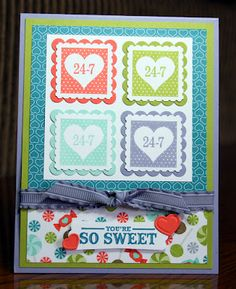 Stampin' Up!  Pretty Postage #123097  Krystal De Leeuw  Valentine's Day