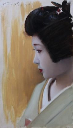Katsuru in Profile by Phil Couture Oil ~ 42cm x 24cm