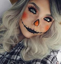 Cute Scarecrow Halloween Makeup Idea